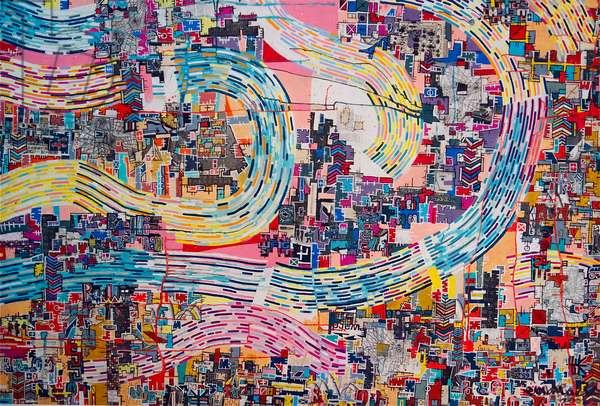 """RBP-7691"", 2003, mixed media and acrylic on canvas"