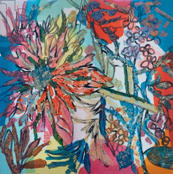 Abstract blooms, 2011 (tissue paper and Indian Ink on paper)