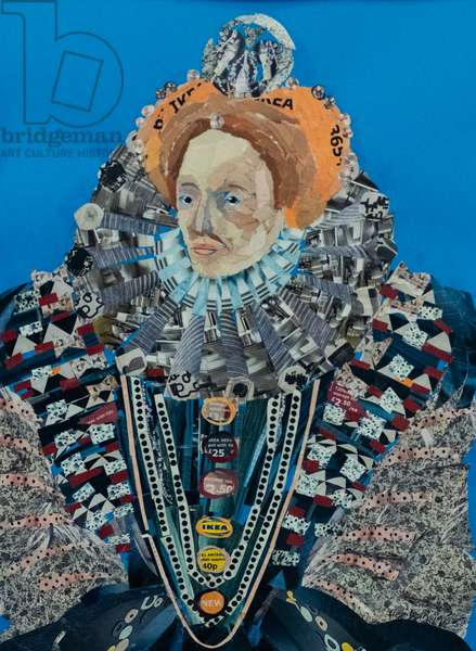 Queen Elizabeth I, 2019 (paper collage)