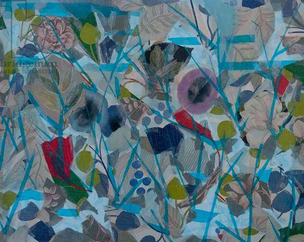 Blue Abstract Floral, 2015 (paper collage)