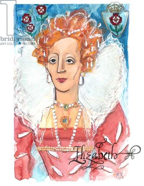 Queen Elizabeth I, 2018 (w/c on paper)