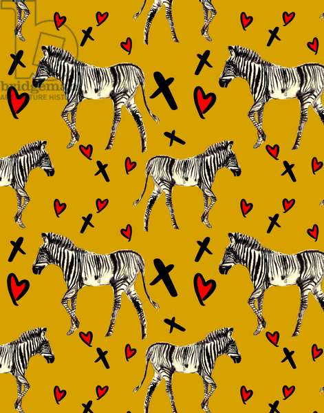 Zebra Love, Ochre, 2020, (w/c on paper)