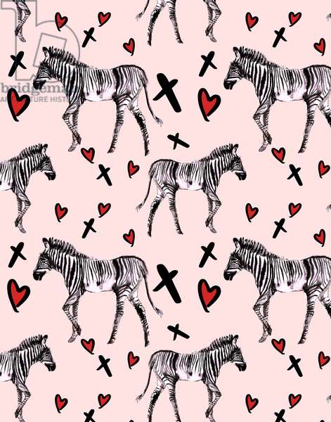 Zebra Love, Pink, 2020 (w/c on paper)