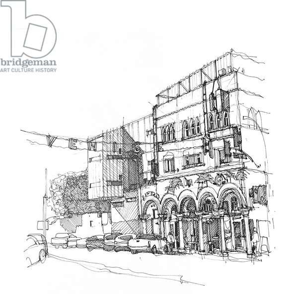Venice Beach, 2020 (ink on paper)