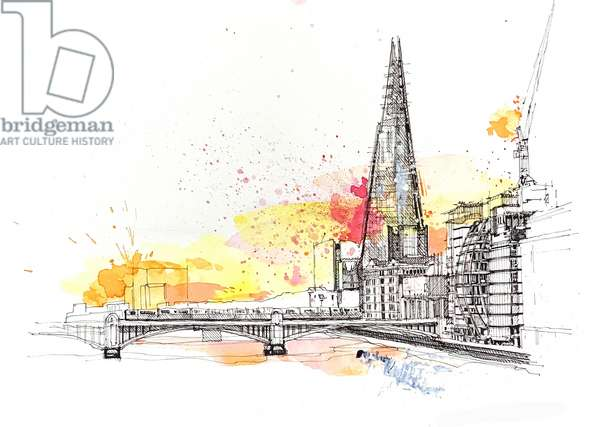 The Shard, 2020, mixed media on paper