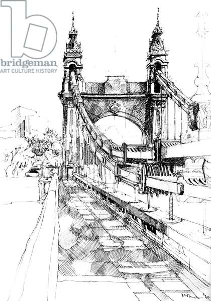Hammersmith Bridge, 2020 (ink on paper)