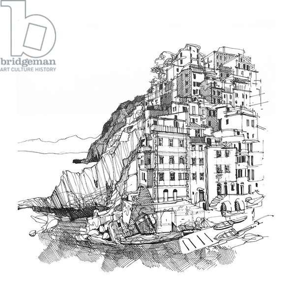 Cinque Terre, 2020 (ink on paper)