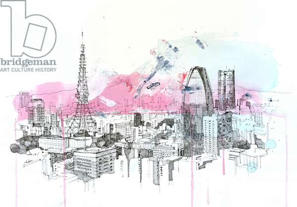 Cherry Blossom Tokyo, 2020 (mixed media on paper)