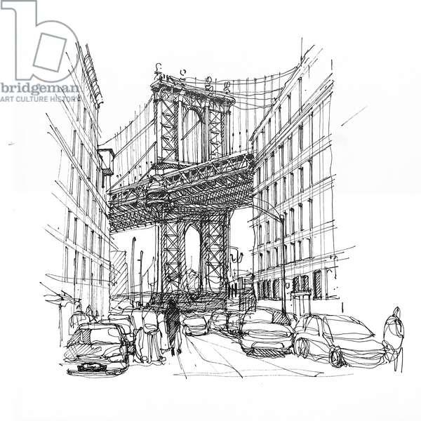 Brooklyn Bridge, 2020 (ink on paper)
