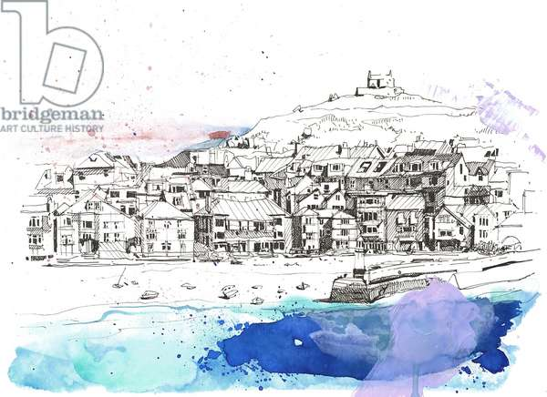 St Ives, 2020 (mixed media on paper)