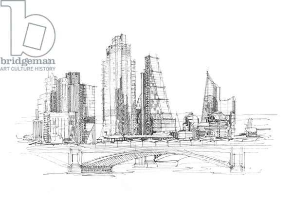 London skyline, 2020 (ink on paper)
