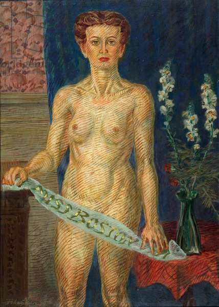 Miss Boston, 1935, 1946-47 (casein tempera under-paint with oil varnish glaze on panel)