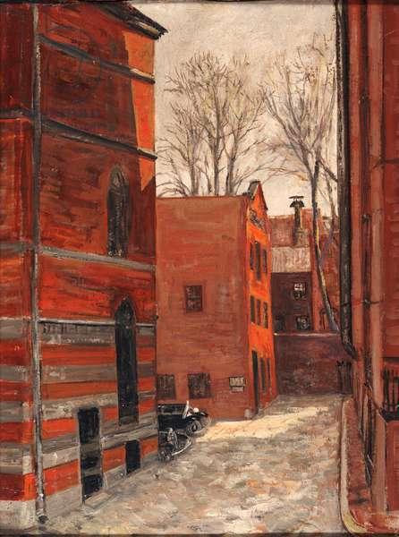 Spruce Court, Beacon Hill, Boston (oil on masonite board)