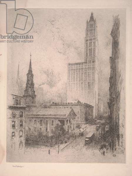 Woolworth Building, New York (etching)