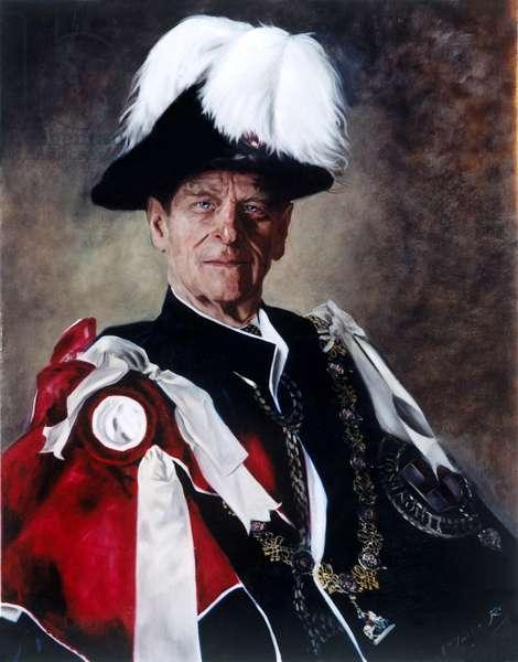 H.R.H. The Duke of Edinburgh (b.1921) in Garter Uniform, 2004 (oil on canvas)