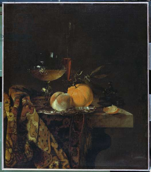 Still Life with Glass and Fruits (oil on canvas)