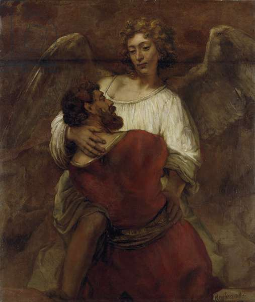Jacob Wrestling with the Angel (oil on canvas)