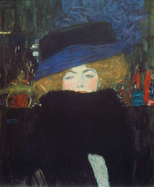 Lady with hat and feather boa, 1909 (oil on canvas)