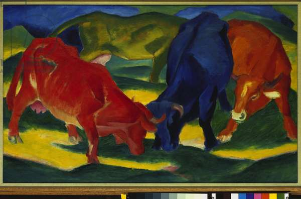 Fighting Oxen, 1911 (oil on canvas)