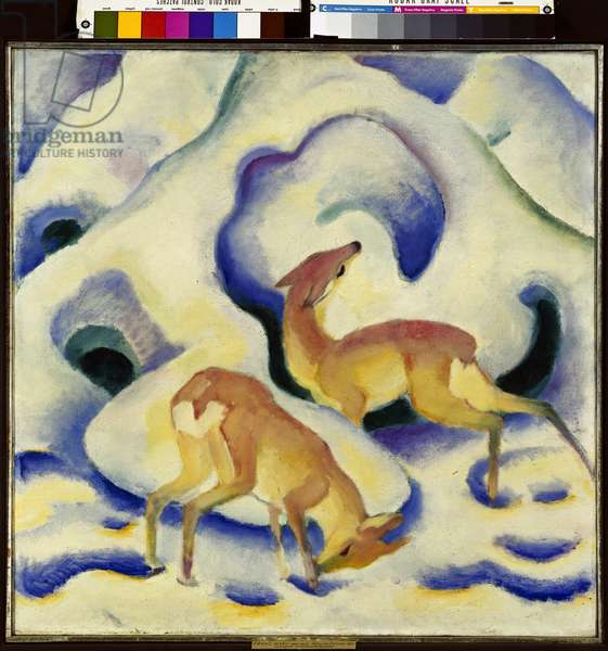 Deer in the Snow, 1911 (oil on canvas)
