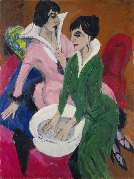 Two women with a washbasin, 1913 (oil on canvas)