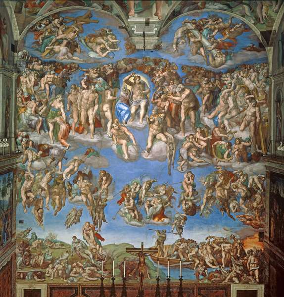 The Last Judgement, Sistine Chapel 1534-41 (fresco) (post restoration)