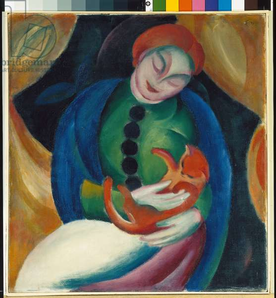 Girl with a Cat II, 1912 (oil on canvas)