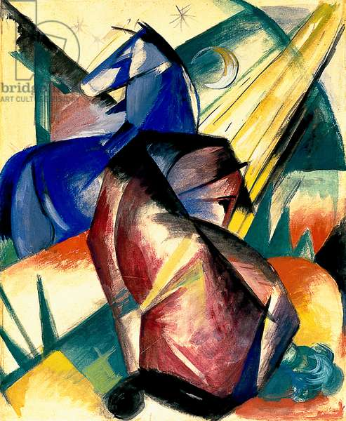 Two Horses, red and blue, 1912 (tempera on paper)