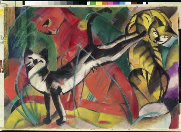 Three Cats, 1913 (oil on canvas)