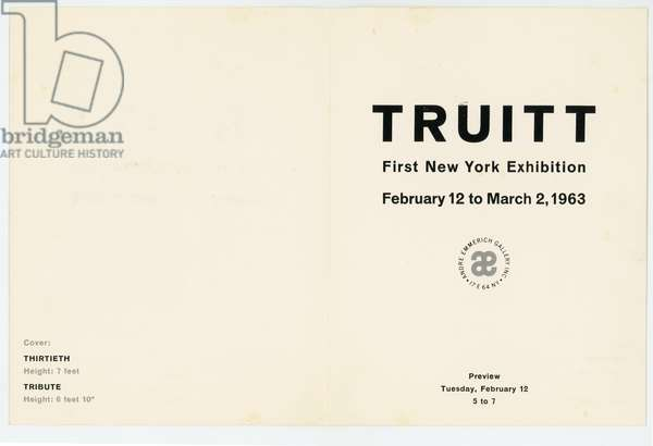 Front of invitation card, 'Truitt' at Andre Emmerich Gallery, 1963 (litho)