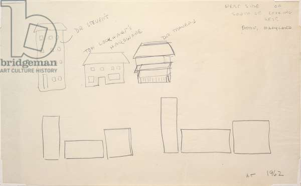 Structures/Buildings, Easton, Maryland, 1962 (graphite on paper)