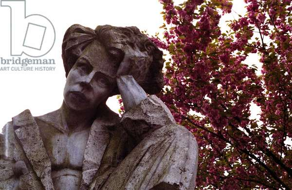 Arthur Rimbaud (1854-1891), French poet, sculpture by Herve Tonglet of 1997. Charleville mezieres.