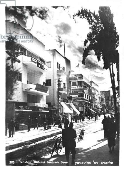 Bauhaus style buildings, Nahalot Binjamin Street, Tel Aviv, 1930s