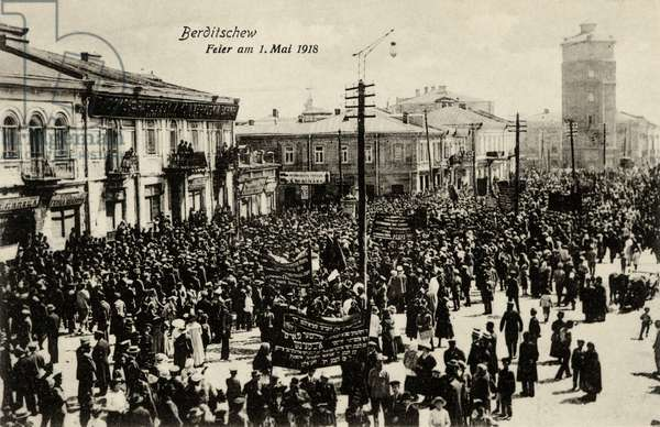 May 1st 1918 - first celebration of Russian Revolution in Berditchev, Ukraine, predominantly Jewish town