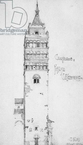 Campanile, Pistoia Cathedral, 1891 (pencil on paper)