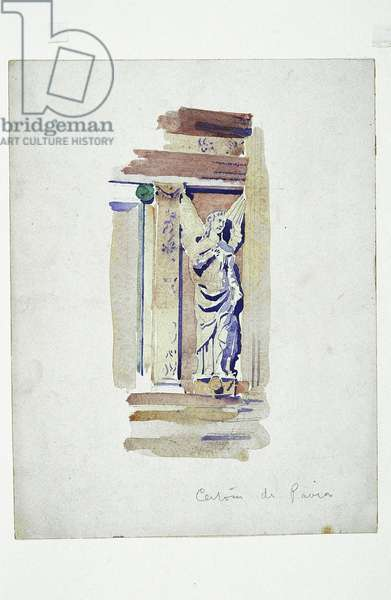 Certosa di Pavia (study of a sculpted angel), 1891 (pencil and watercolor on paper)