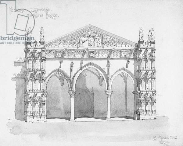 Palermo Cathedral Entrance Porch, 1891 (pencil and wash)