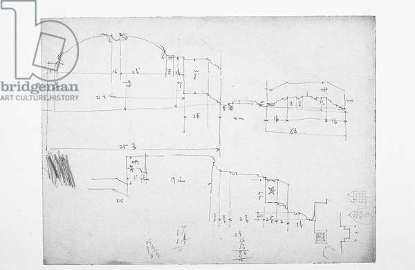 Untitled (working sheet of sketches), 1891 (pencil on paper)