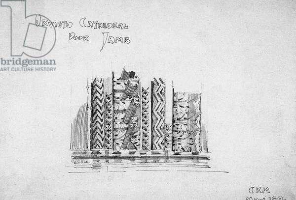 Orvieto Cathedral Door Jamb, 1891 (pencil on paper)