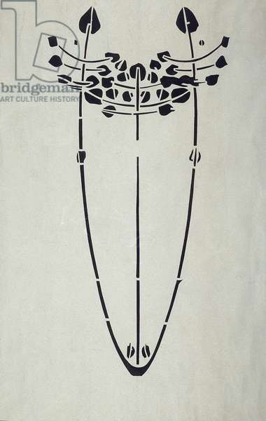 Modern Reproduction from Original Mackintosh Stencil for Wall Decoration, Tree motif, 1902 (poster color on cartridge paper)