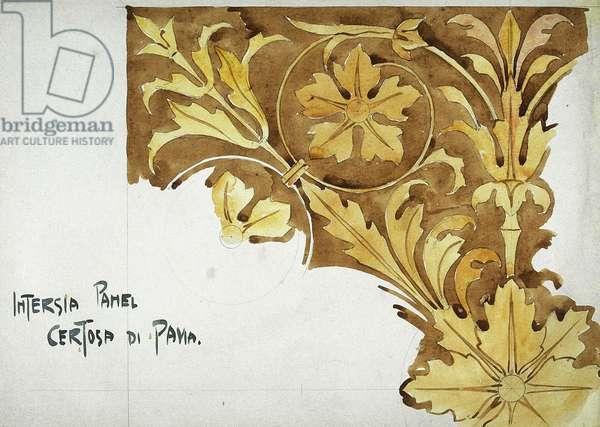 Intarsia Panel, Certosa di Pavia, 1891 (pencil and watercolor on paper)