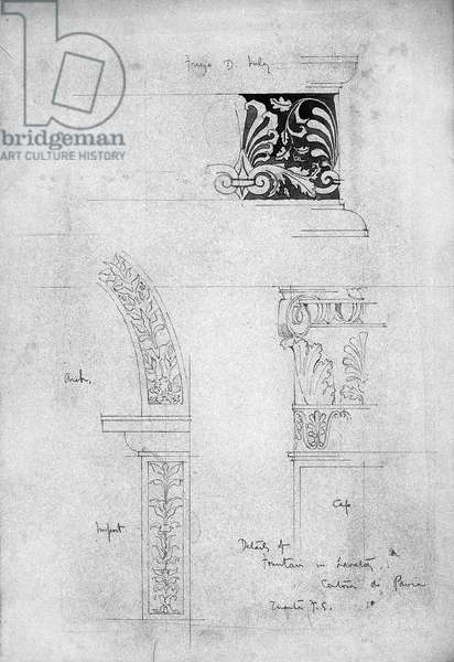 Details of Fountain in Lavatory, Certosa di Pavia, 1891 (Pencil and grey wash on paper)