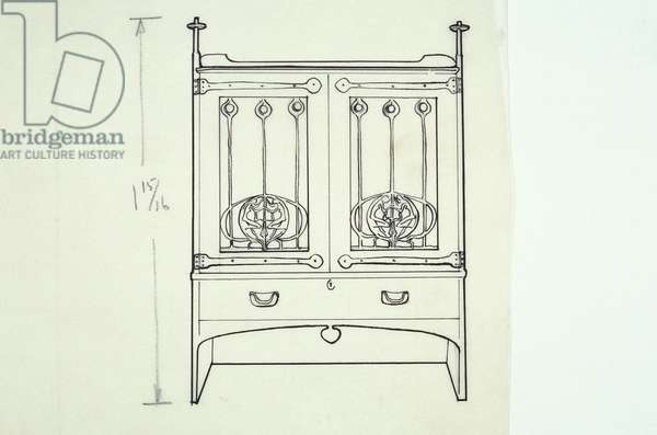 Line drawing of furniture (a dressing table), c.1910 (ink on paper)