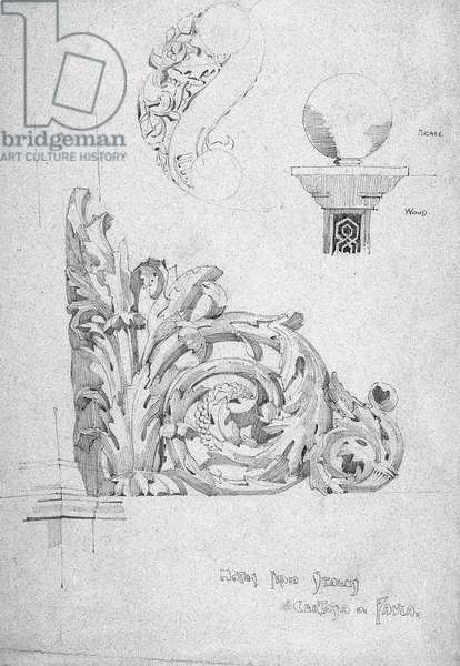 Notes from Itally [sic], Certosa di Pavia, 1891 (Pencil on blue paper)