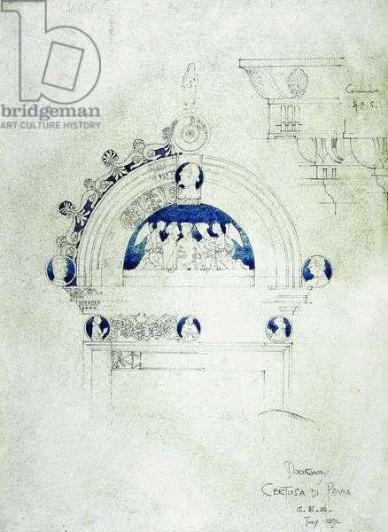 Doorway, Certosa di Pavia, 1891 (pencil and watercolor on paper)