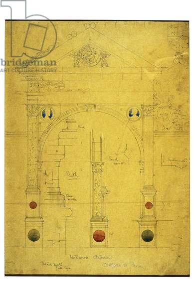 Entrance Gateway, Certosa di Pavia, 1891 (pencil and watercolor on paper)