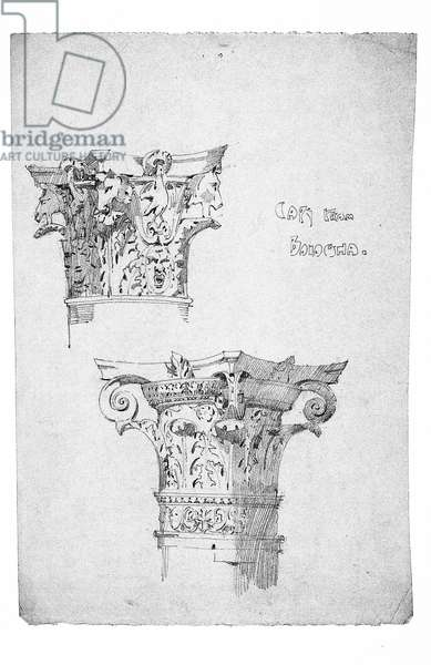Capitals from Bologna, 1891 (pencil on paper)