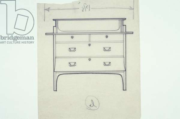 Line drawing of furniture (a settle with painted panels), c.1910 (ink on paper)