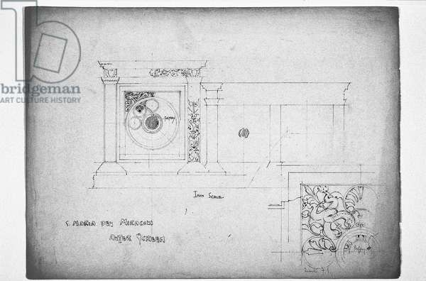 S. Maria dei Miracoli Altar Screen, 1891 (pencil on paper)