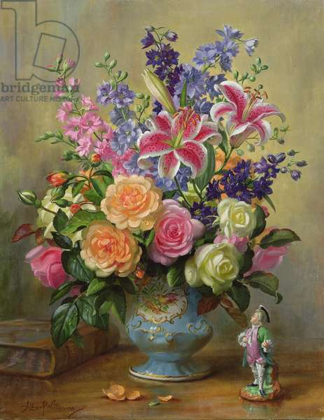 AB250 Still Life of Roses, Lilies and Delphiniums